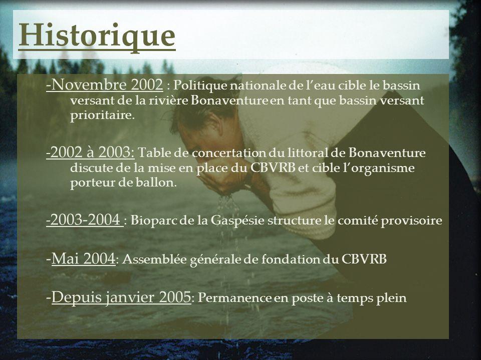 Historique -Novembre 2002 : Politique nationale de l'eau cible le bassin versant de la rivière Bonaventure en tant que bassin versant prioritaire.