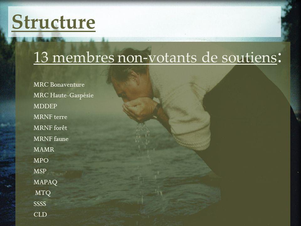 Structure 13 membres non-votants de soutiens: MRC Bonaventure