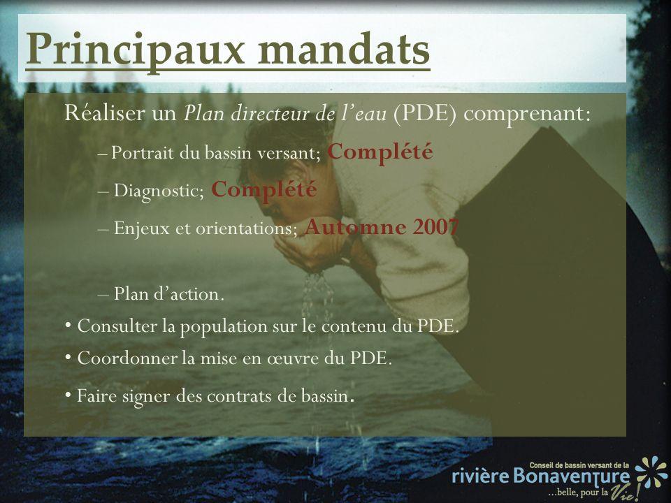 Principaux mandatsRéaliser un Plan directeur de l'eau (PDE) comprenant: – Portrait du bassin versant; Complété.