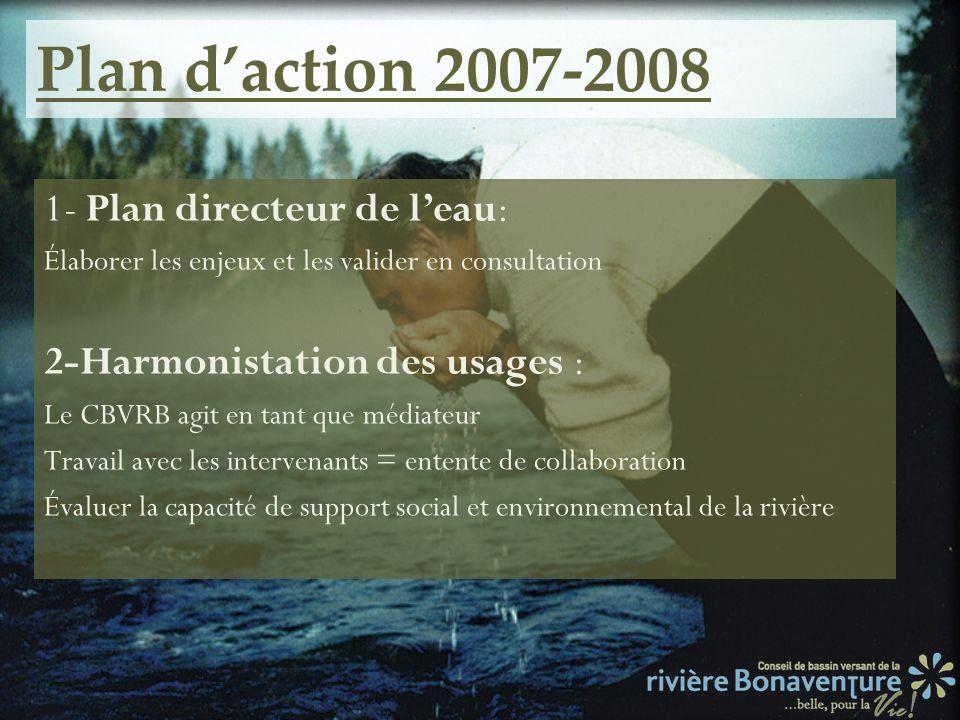 Plan d'action 2007-2008 1- Plan directeur de l'eau: