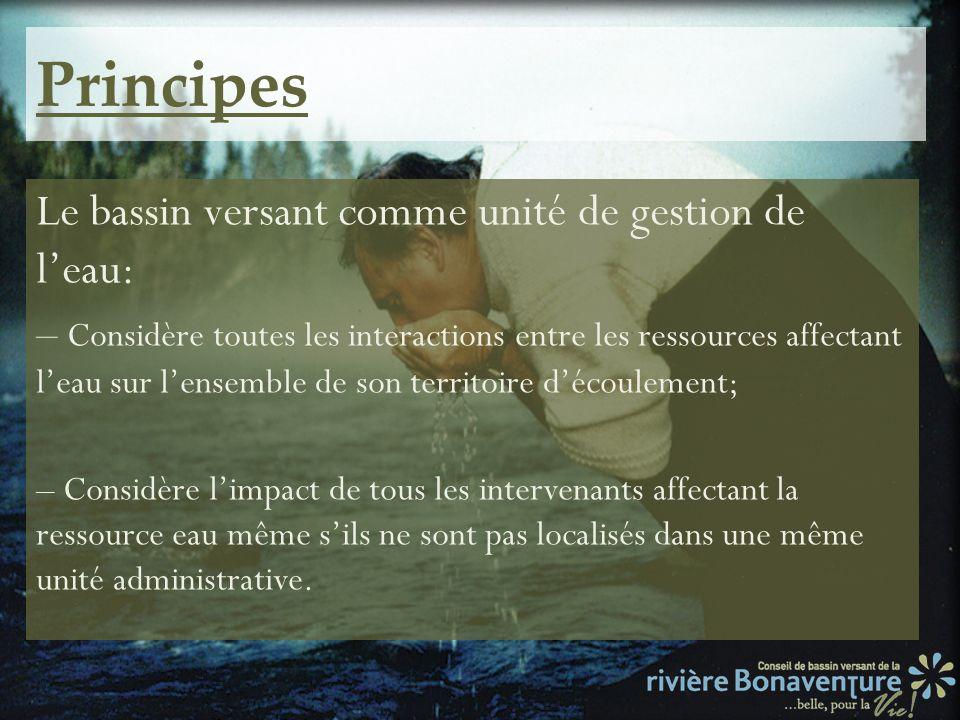 Principes Le bassin versant comme unité de gestion de l'eau: