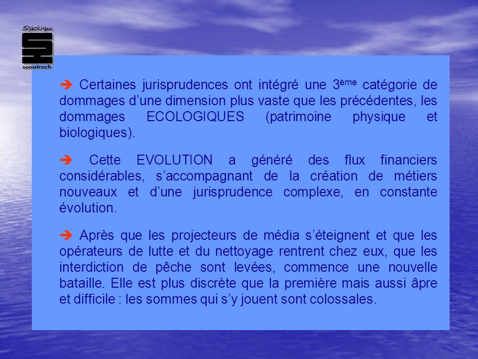  Certaines jurisprudences ont intégré une 3ème catégorie de dommages d'une dimension plus vaste que les précédentes, les dommages ECOLOGIQUES (patrimoine physique et biologiques).