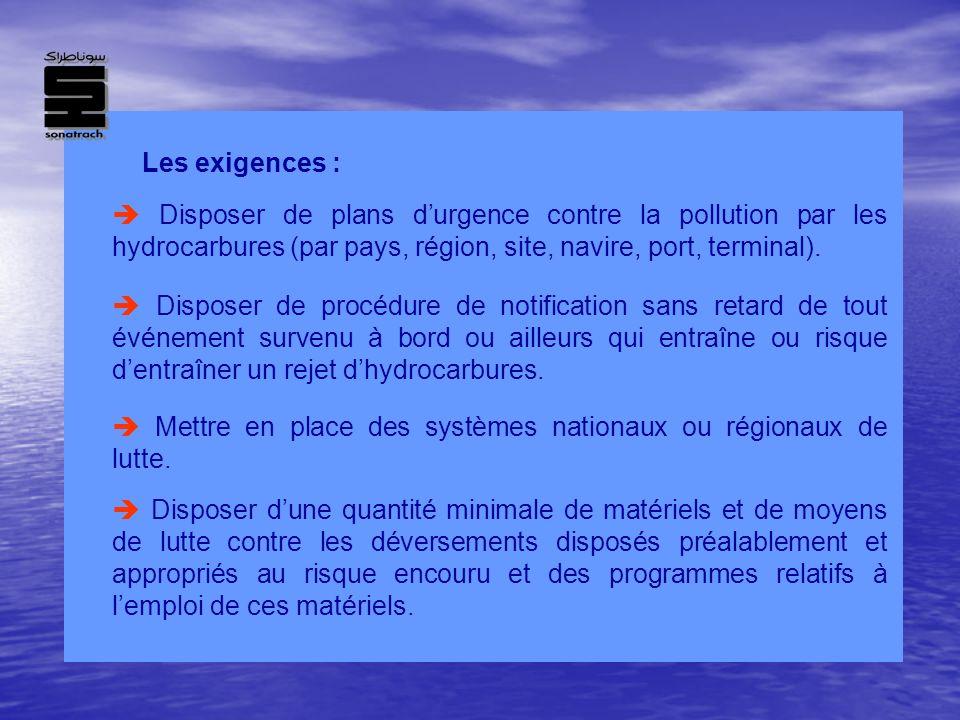 Les exigences :  Disposer de plans d'urgence contre la pollution par les hydrocarbures (par pays, région, site, navire, port, terminal).
