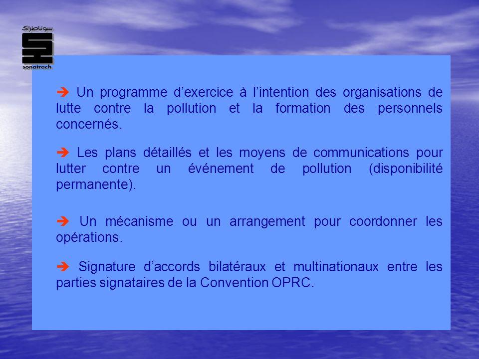  Un programme d'exercice à l'intention des organisations de lutte contre la pollution et la formation des personnels concernés.