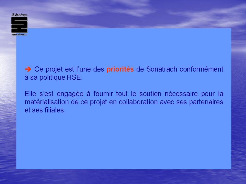  Ce projet est l'une des priorités de Sonatrach conformément à sa politique HSE.