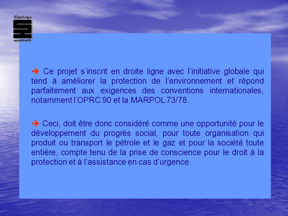 Ce projet s'inscrit en droite ligne avec l'initiative globale qui tend à améliorer la protection de l'environnement et répond parfaitement aux exigences des conventions internationales, notamment l'OPRC 90 et la MARPOL 73/78.