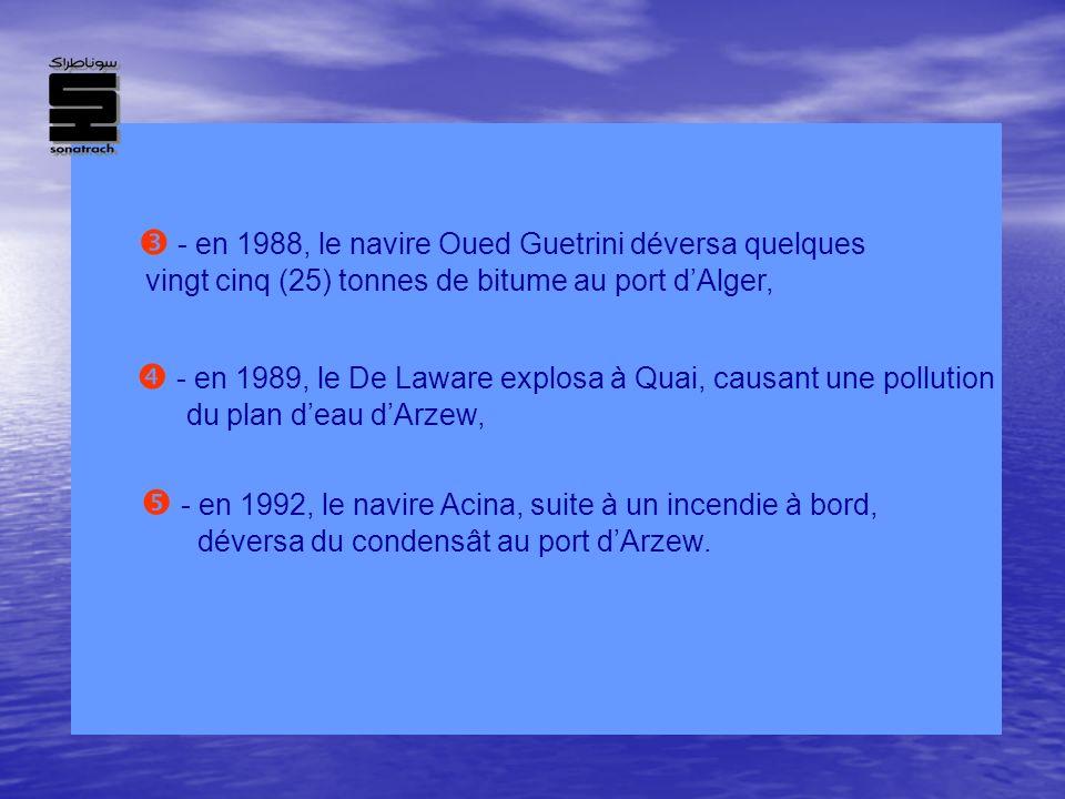  - en 1988, le navire Oued Guetrini déversa quelques