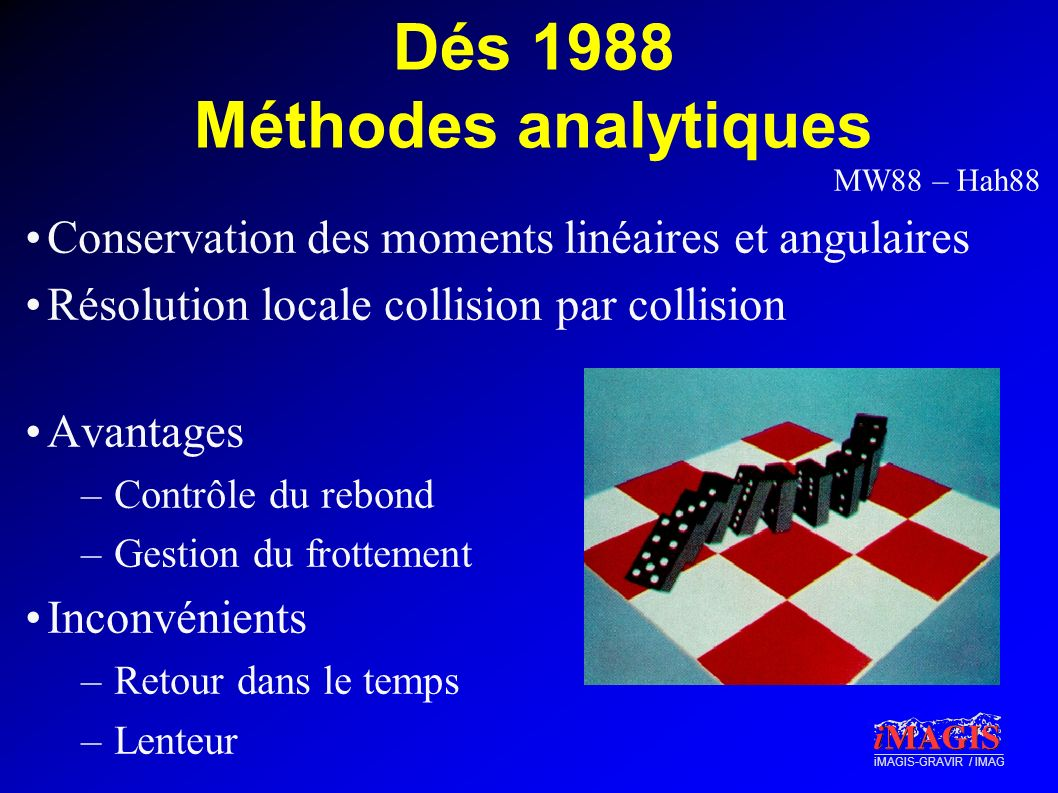 Dés 1988 Méthodes analytiques