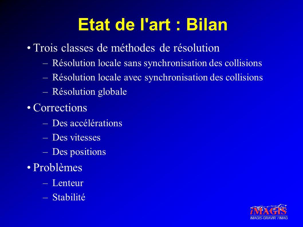 Etat de l art : Bilan Trois classes de méthodes de résolution