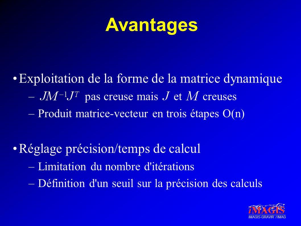 Avantages Exploitation de la forme de la matrice dynamique