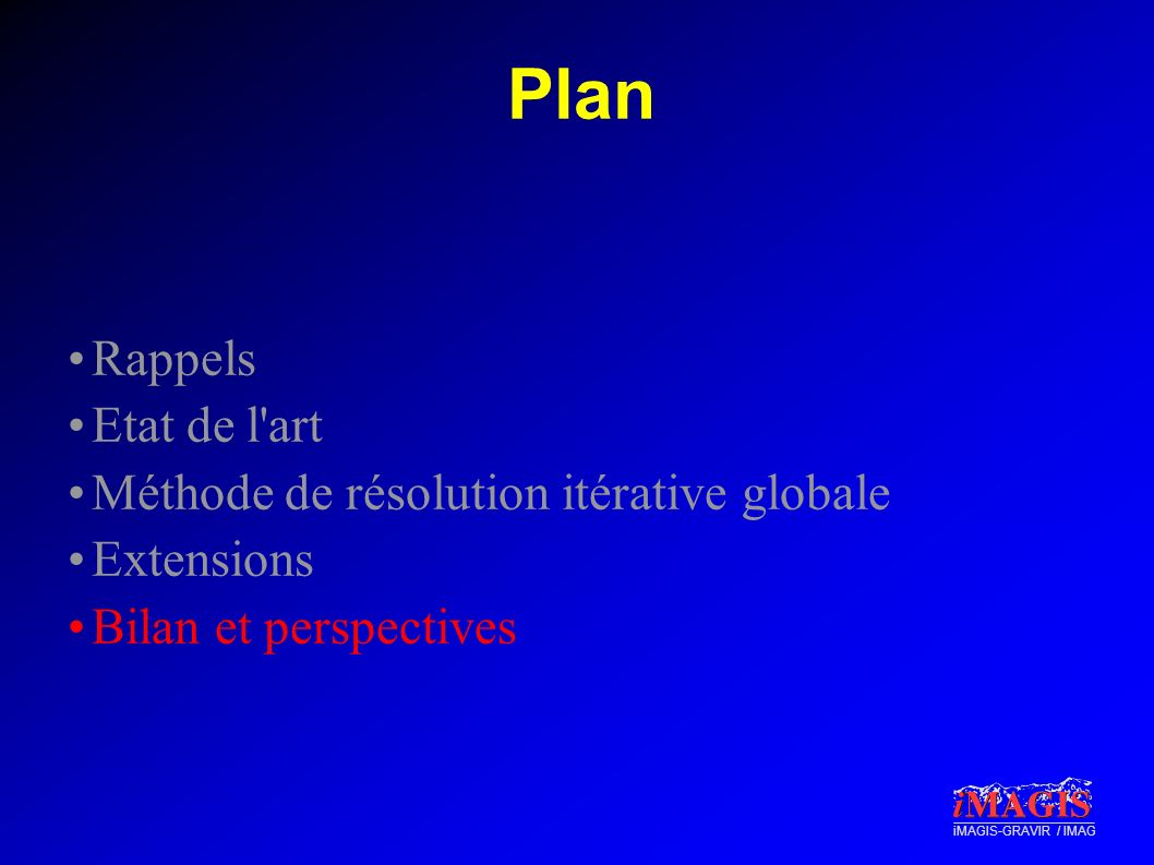 Plan Rappels Etat de l art Méthode de résolution itérative globale