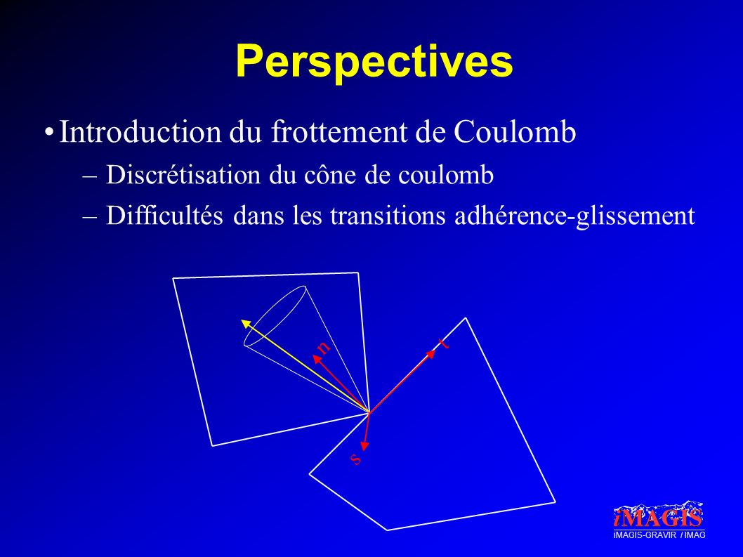 Perspectives Introduction du frottement de Coulomb