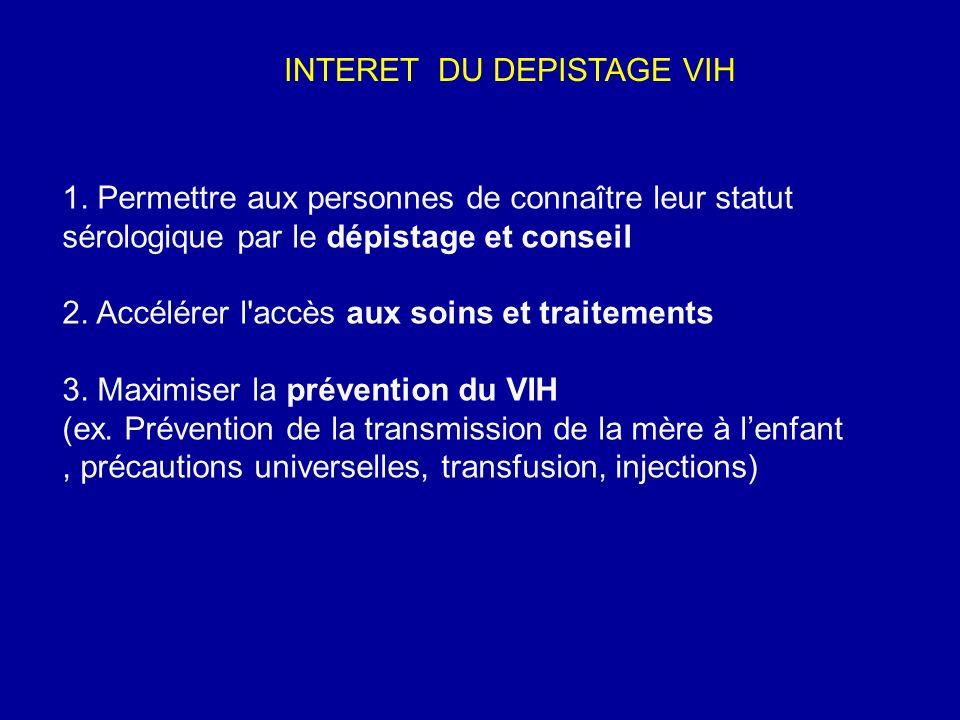 INTERET DU DEPISTAGE VIH
