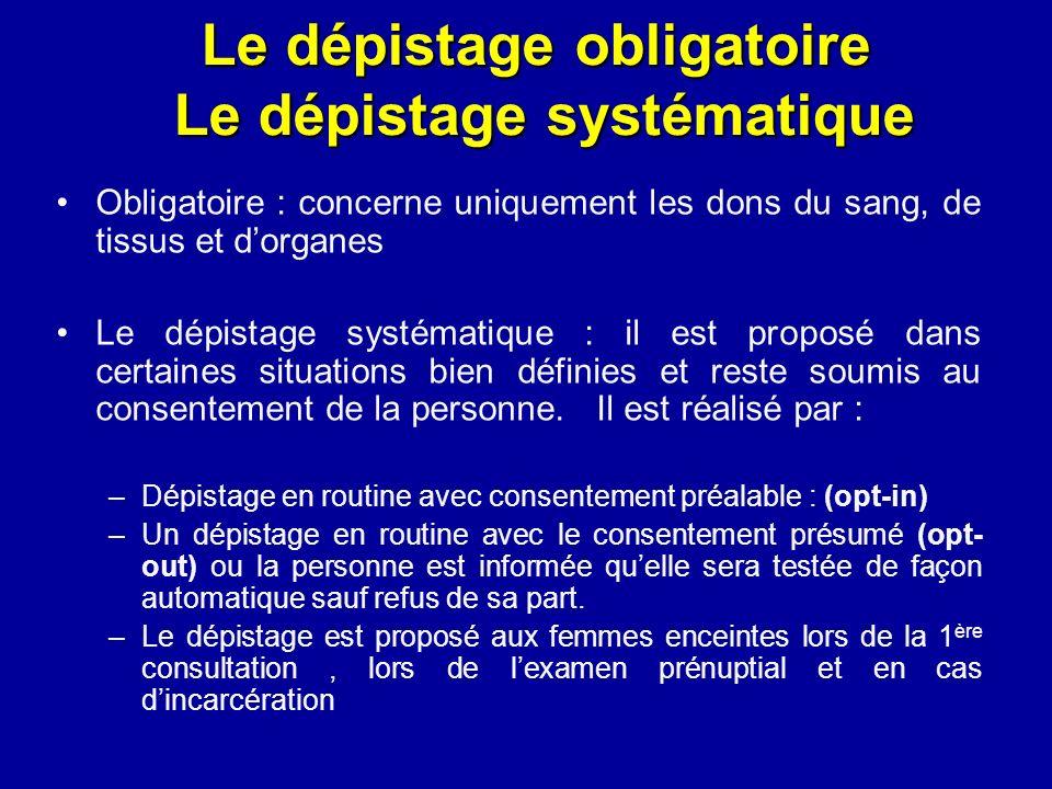 Le dépistage obligatoire Le dépistage systématique