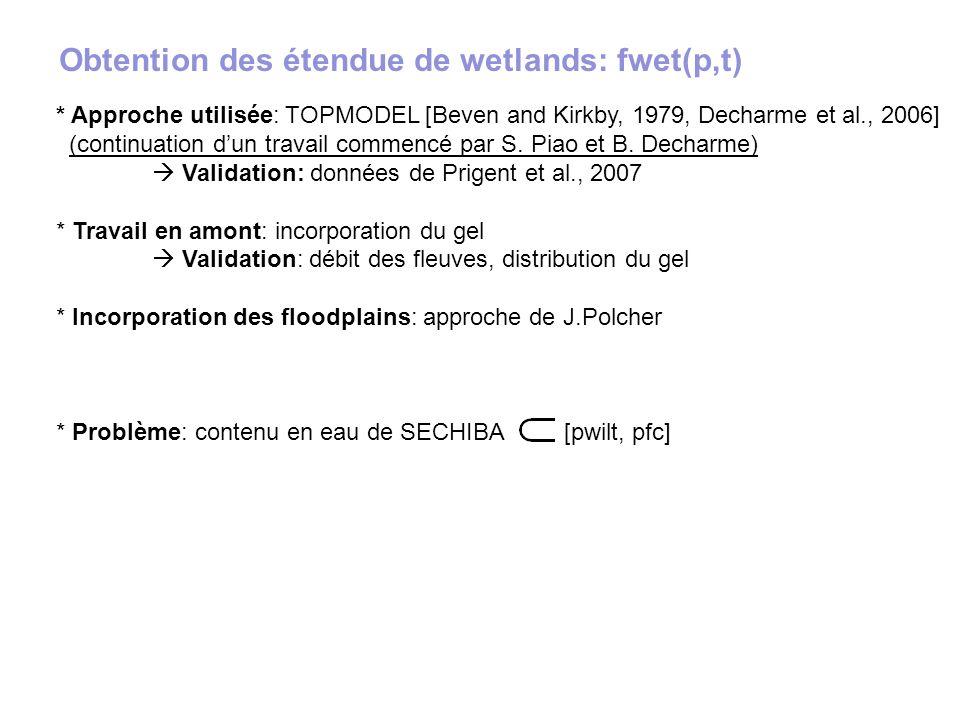Obtention des étendue de wetlands: fwet(p,t)