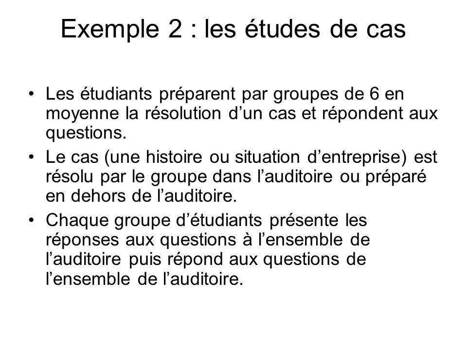 Exemple 2 : les études de cas