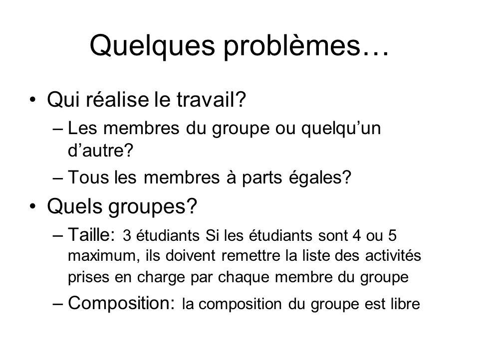 Quelques problèmes… Qui réalise le travail Quels groupes