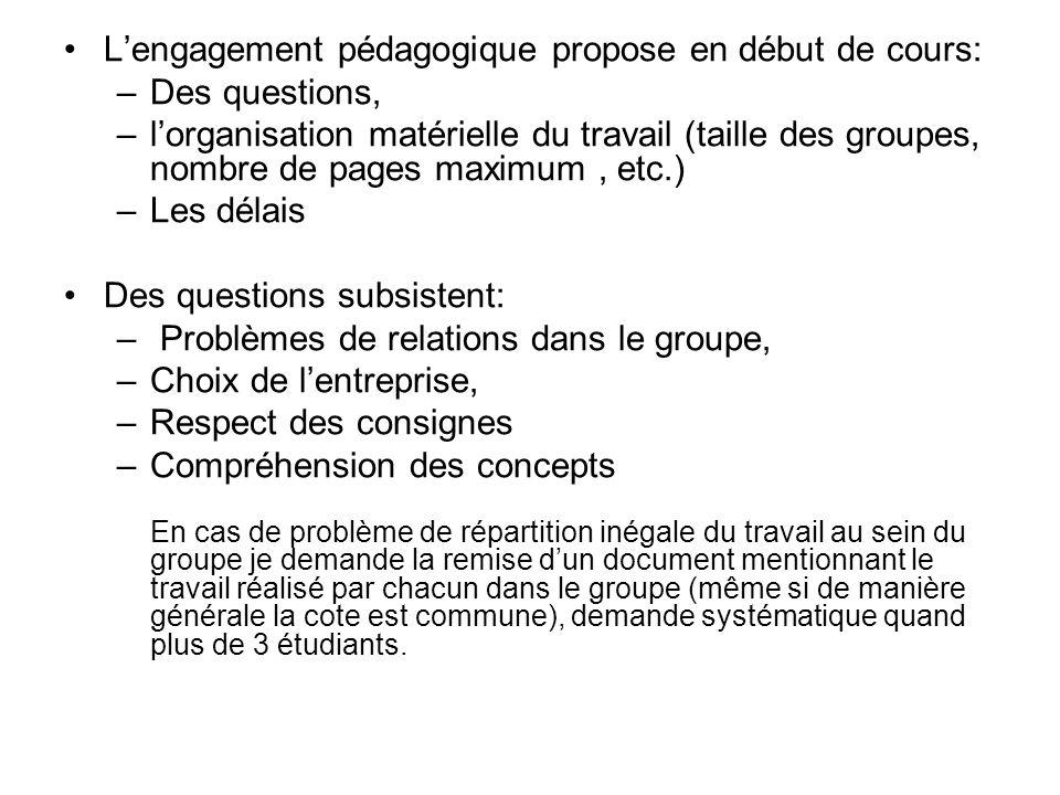 L'engagement pédagogique propose en début de cours: Des questions,