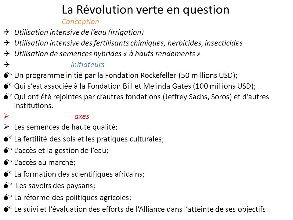 La Révolution verte en question