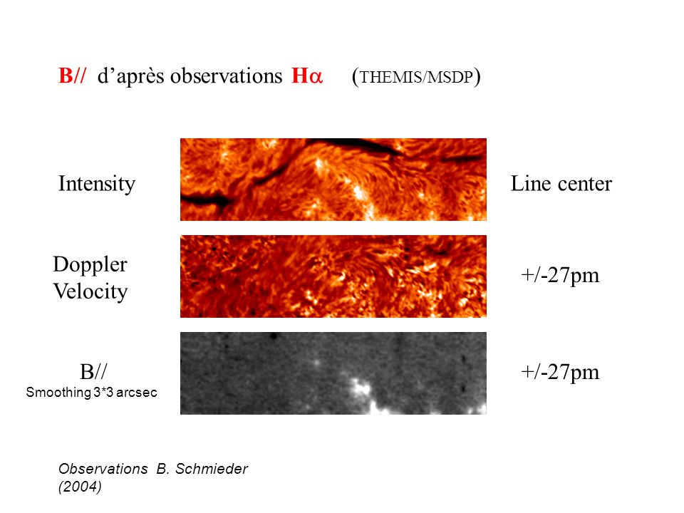 B// d'après observations Ha (THEMIS/MSDP)