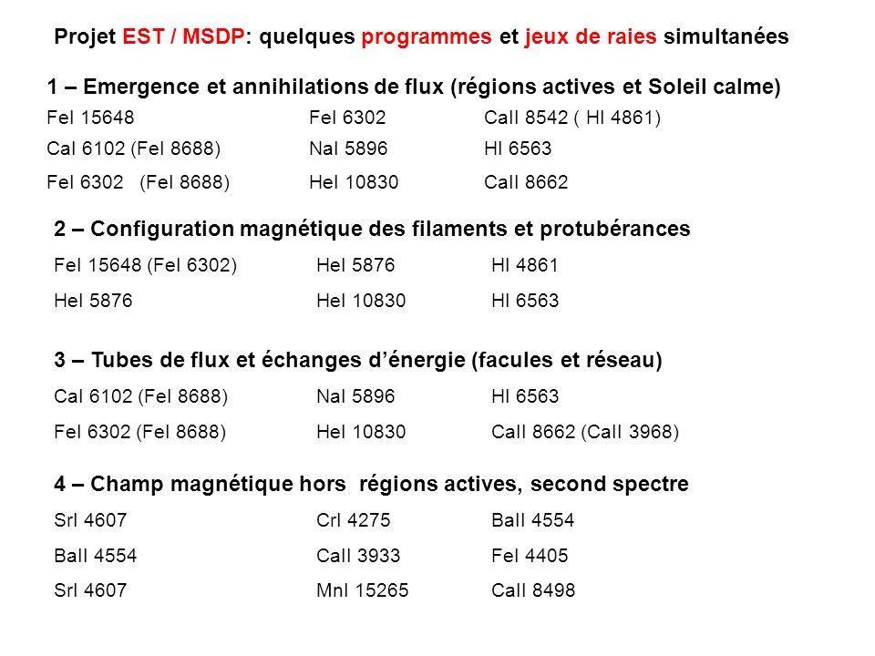 Projet EST / MSDP: quelques programmes et jeux de raies simultanées