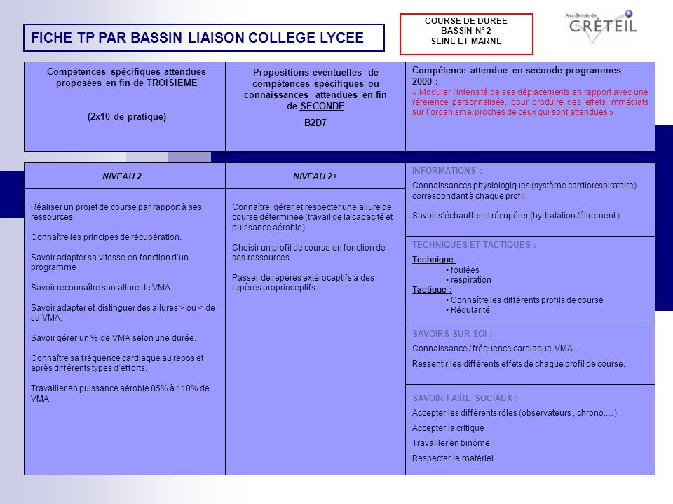 COURSE DE DUREE BASSIN N° 2 SEINE ET MARNE