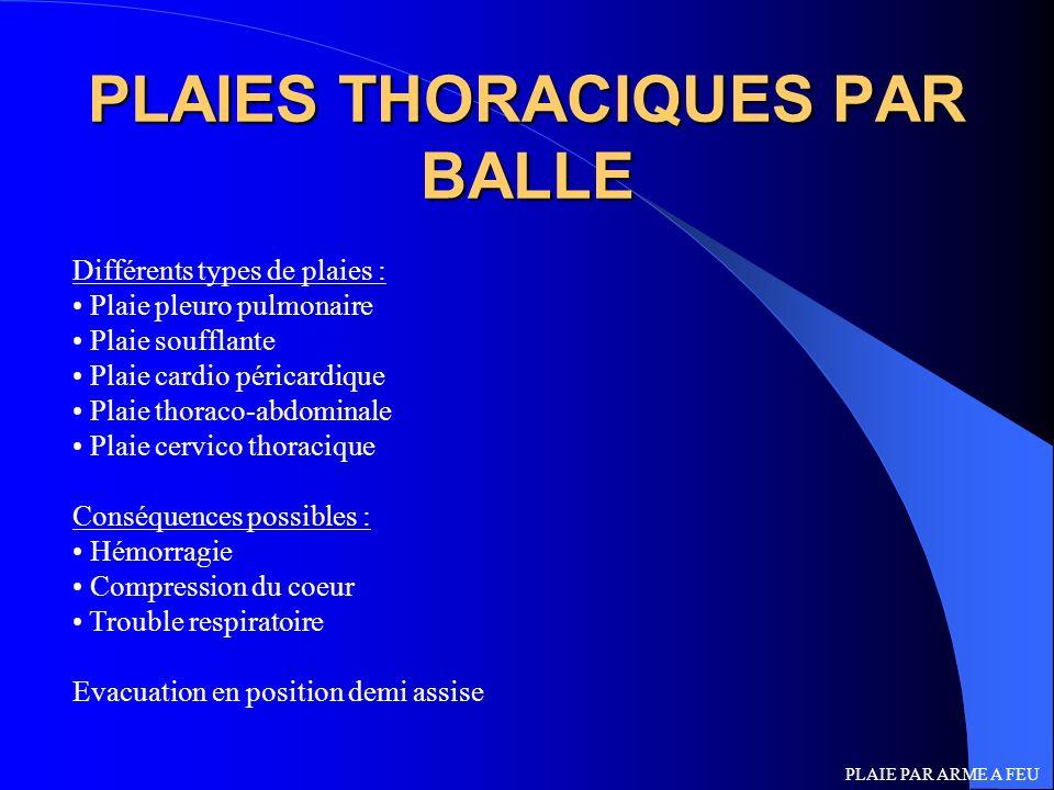 PLAIES THORACIQUES PAR BALLE