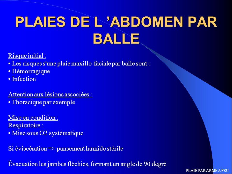 PLAIES DE L 'ABDOMEN PAR BALLE