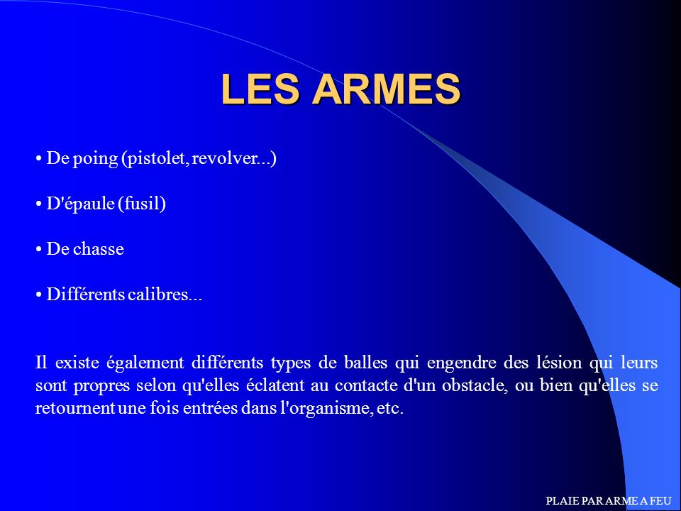 LES ARMES De poing (pistolet, revolver...) D épaule (fusil) De chasse