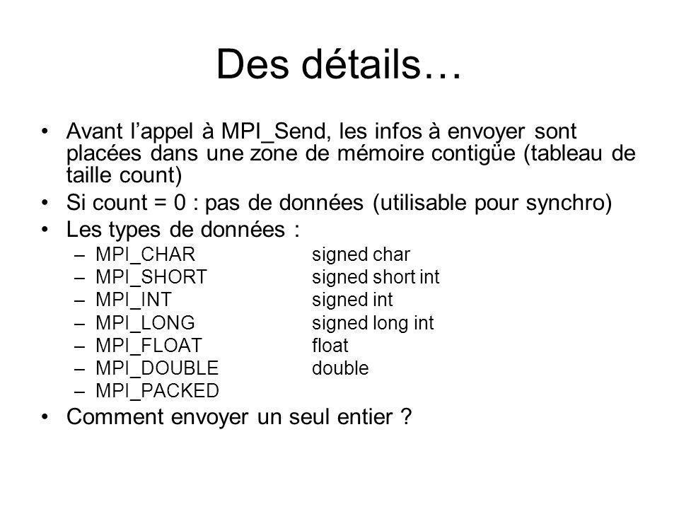 Des détails… Avant l'appel à MPI_Send, les infos à envoyer sont placées dans une zone de mémoire contigüe (tableau de taille count)