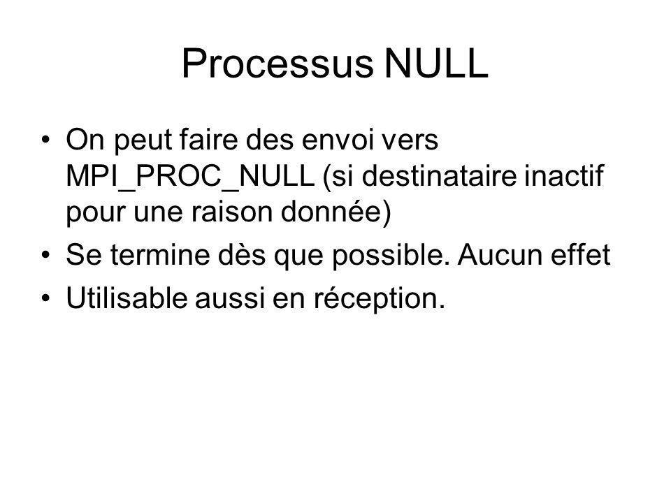 Processus NULL On peut faire des envoi vers MPI_PROC_NULL (si destinataire inactif pour une raison donnée)