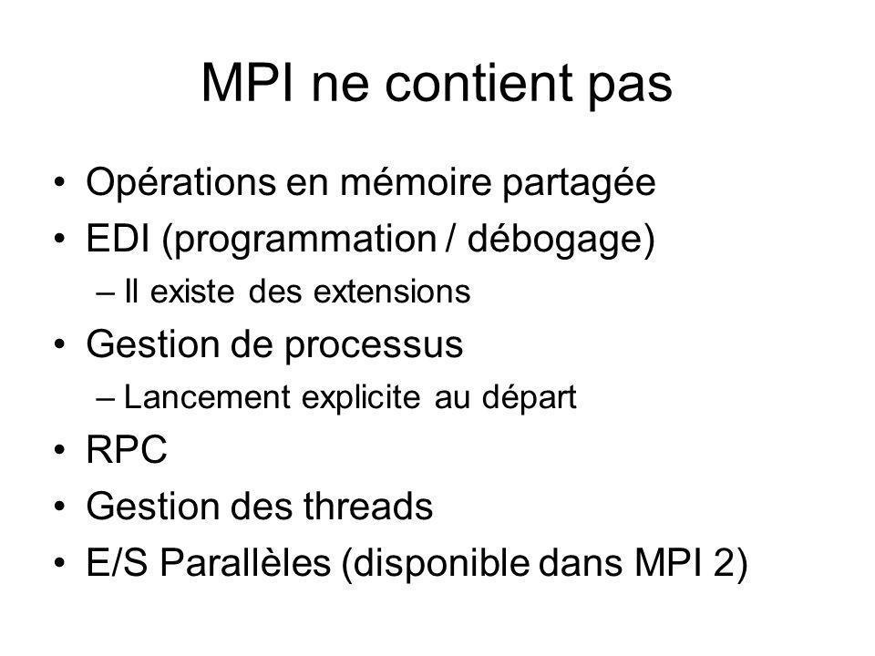 MPI ne contient pas Opérations en mémoire partagée
