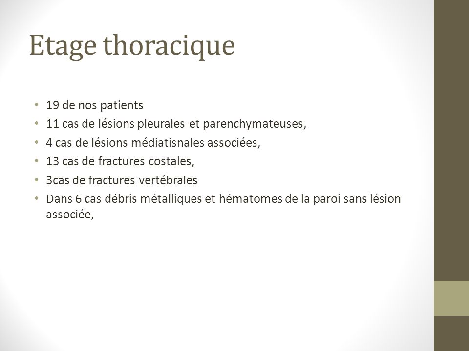 Etage thoracique 19 de nos patients