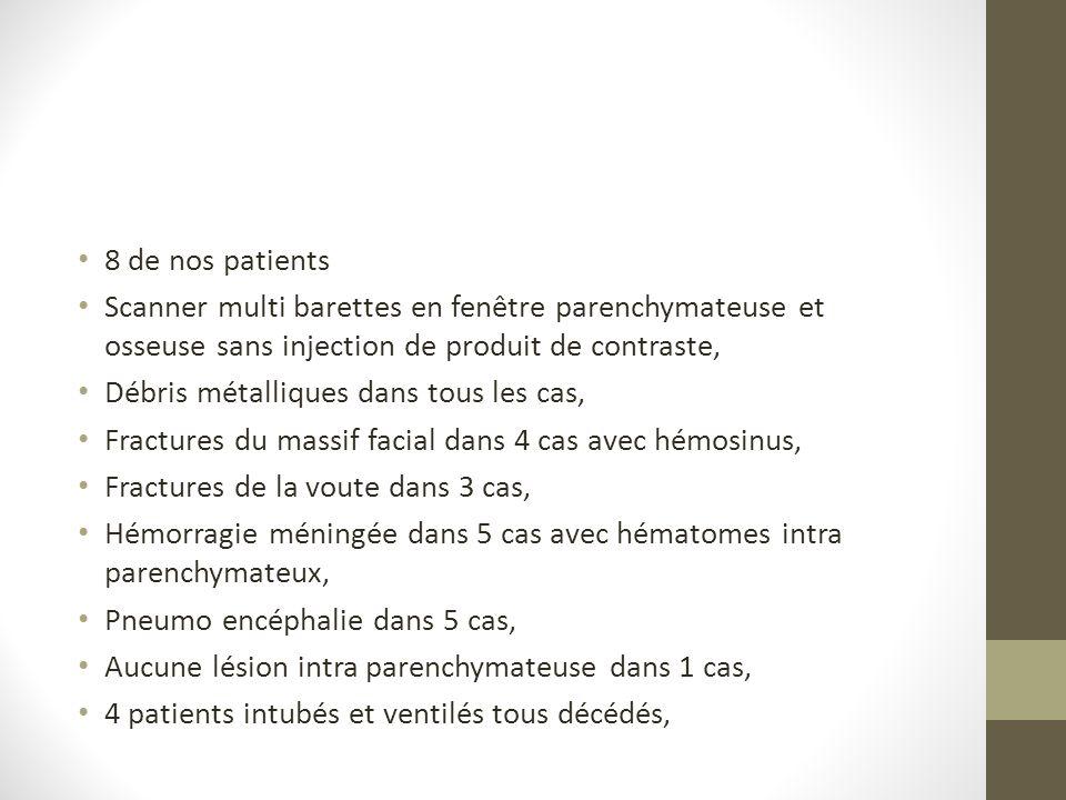 8 de nos patients Scanner multi barettes en fenêtre parenchymateuse et osseuse sans injection de produit de contraste,