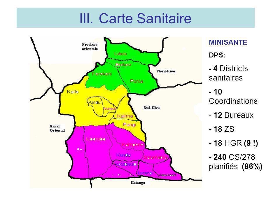 III. Carte Sanitaire - 10 Coordinations - 12 Bureaux - 18 ZS