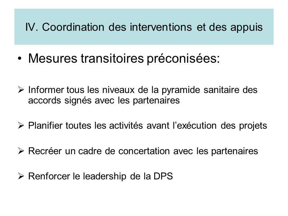 IV. Coordination des interventions et des appuis
