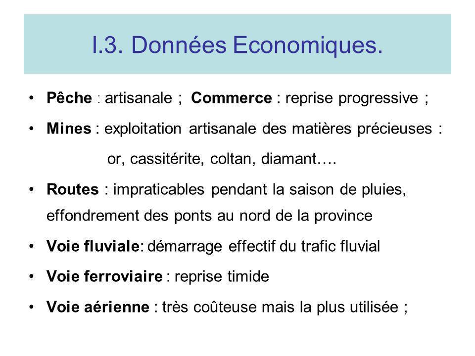 I.3. Données Economiques. Pêche : artisanale ; Commerce : reprise progressive ; Mines : exploitation artisanale des matières précieuses :