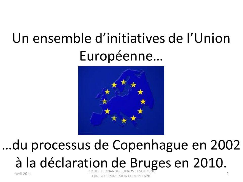 Un ensemble d'initiatives de l'Union Européenne…