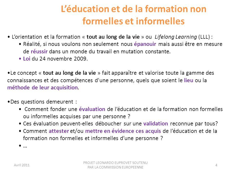 L'éducation et de la formation non formelles et informelles