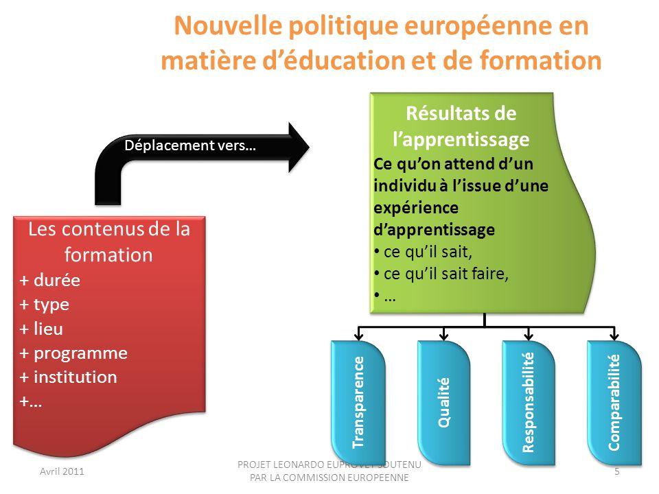 Nouvelle politique européenne en matière d'éducation et de formation