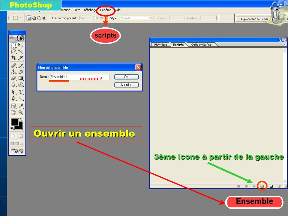 PhotoShop un nom Ouvrir un ensemble 3ème icone à partir de la gauche