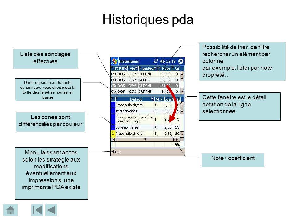 Historiques pda Possibilité de trier, de filtre rechercher un élément par colonne, par exemple: lister par note propreté…