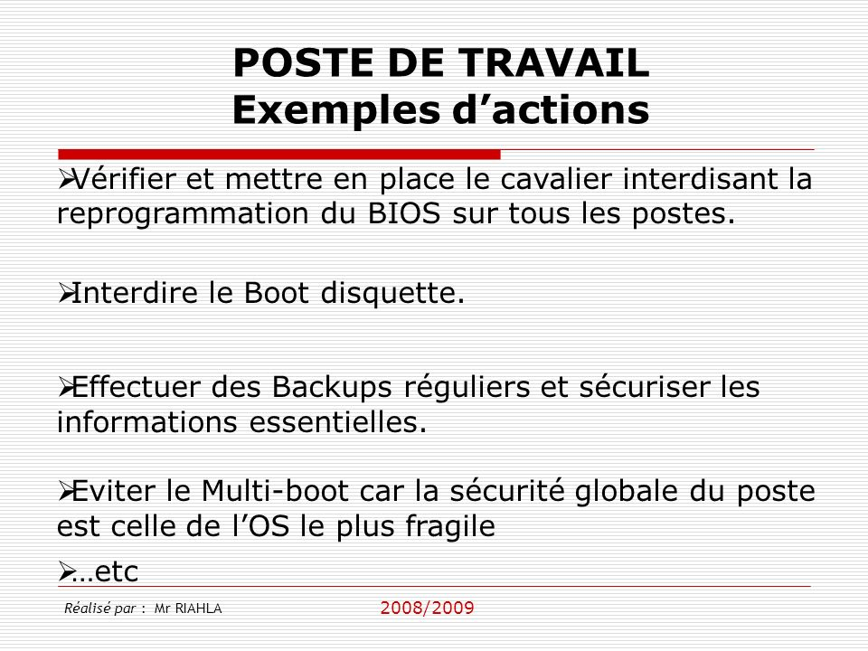 POSTE DE TRAVAIL Exemples d'actions