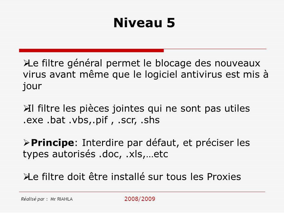 Niveau 5 Le filtre général permet le blocage des nouveaux virus avant même que le logiciel antivirus est mis à jour.