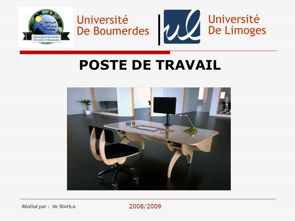 POSTE DE TRAVAIL Université Université De Boumerdes De Limoges