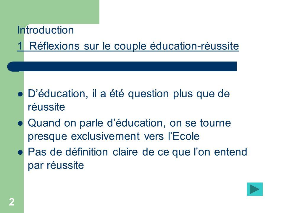 Introduction 1 Réflexions sur le couple éducation-réussite. D'éducation, il a été question plus que de réussite.