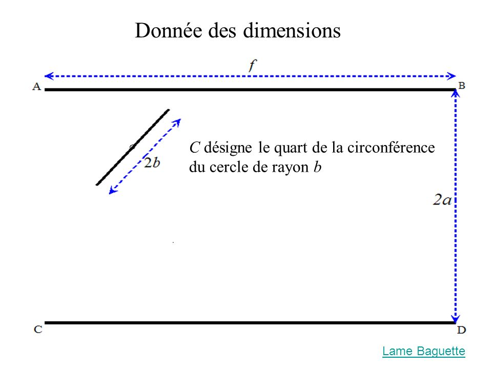 Donnée des dimensions C désigne le quart de la circonférence