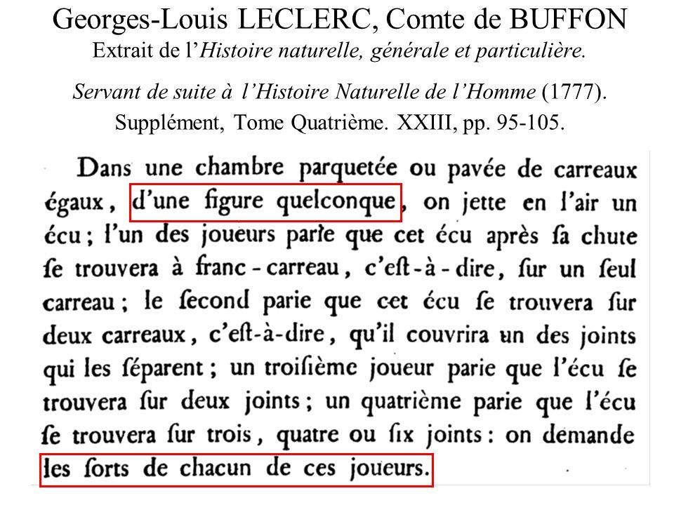 Georges-Louis LECLERC, Comte de BUFFON Extrait de l'Histoire naturelle, générale et particulière.