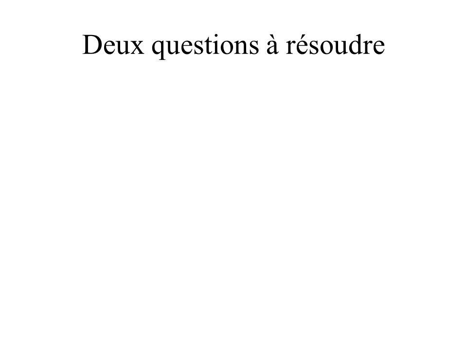 Deux questions à résoudre