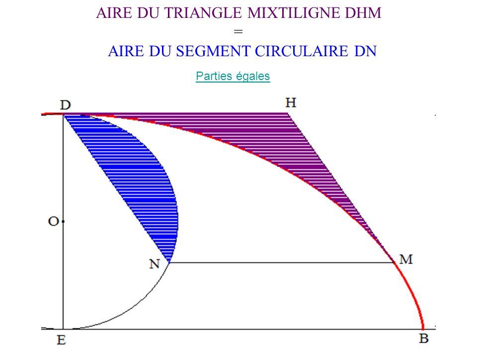 AIRE DU TRIANGLE MIXTILIGNE DHM = AIRE DU SEGMENT CIRCULAIRE DN